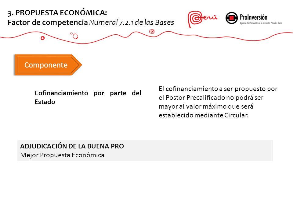 Cofinanciamiento por parte del Estado ADJUDICACIÓN DE LA BUENA PRO Mejor Propuesta Económica 3. PROPUESTA ECONÓMICA: Factor de competencia Numeral 7.2