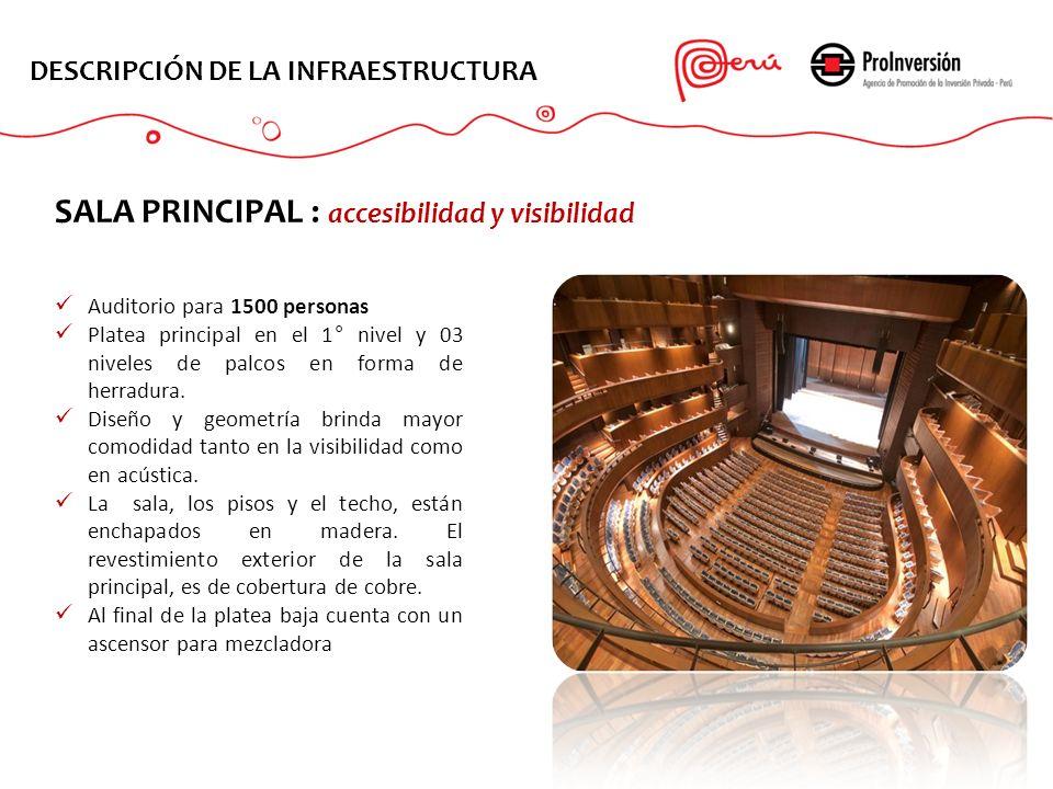 DESCRIPCIÓN DE LA INFRAESTRUCTURA Auditorio para 1500 personas Platea principal en el 1° nivel y 03 niveles de palcos en forma de herradura. Diseño y