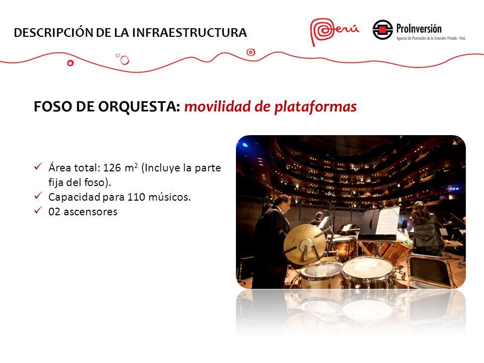 Área total: 126 m 2 (Incluye la parte fija del foso). Capacidad para 110 músicos. 02 ascensores DESCRIPCIÓN DE LA INFRAESTRUCTURA FOSO DE ORQUESTA: mo