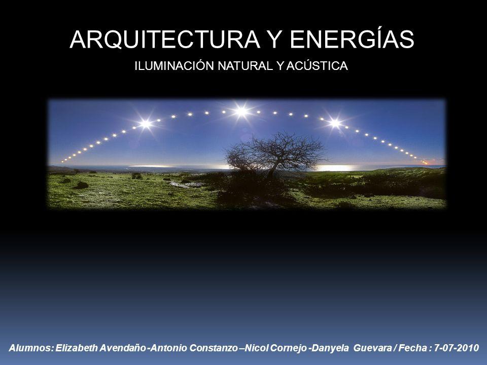 ARQUITECTURA Y ENERGÍAS ILUMINACIÓN NATURAL Y ACÚSTICA Alumnos: Elizabeth Avendaño -Antonio Constanzo –Nicol Cornejo -Danyela Guevara / Fecha : 7-07-2010