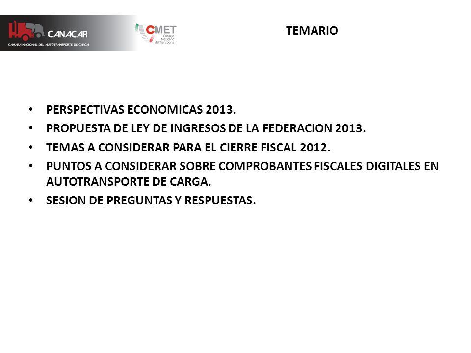 TEMARIO PERSPECTIVAS ECONOMICAS 2013. PROPUESTA DE LEY DE INGRESOS DE LA FEDERACION 2013.