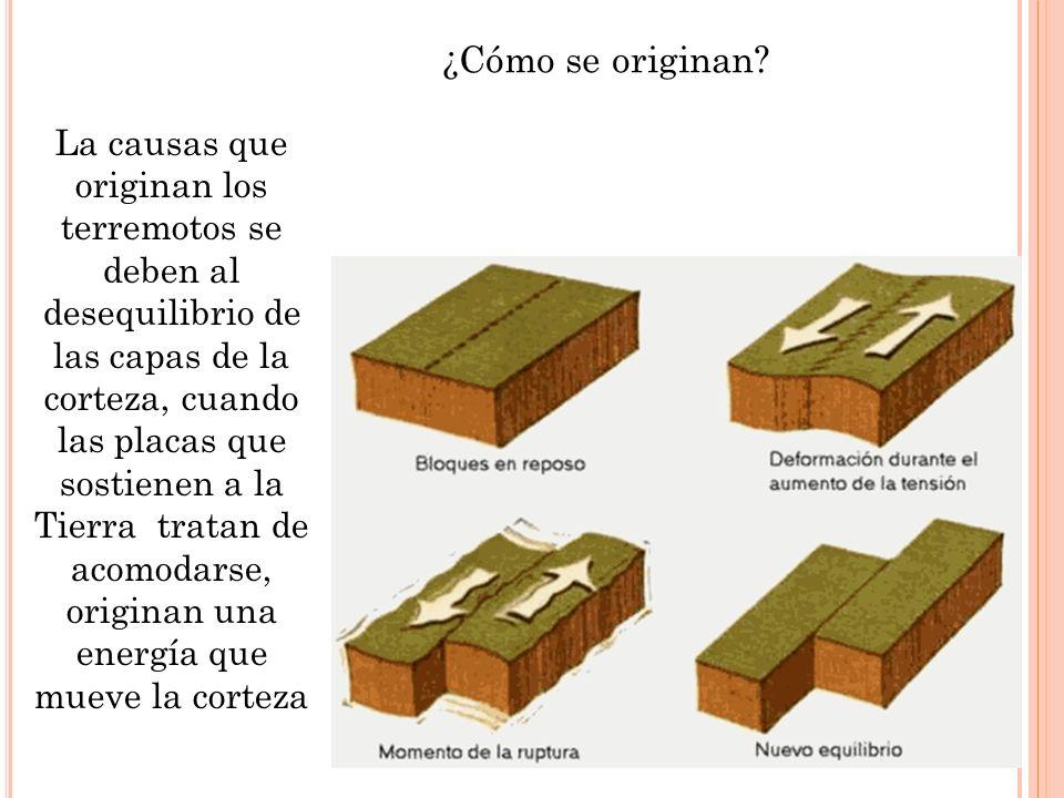 ¿Cómo se originan? La causas que originan los terremotos se deben al desequilibrio de las capas de la corteza, cuando las placas que sostienen a la Ti