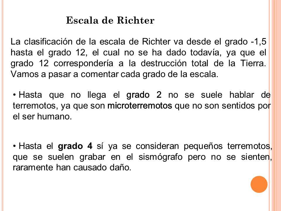Escala de Richter La clasificación de la escala de Richter va desde el grado -1,5 hasta el grado 12, el cual no se ha dado todavía, ya que el grado 12