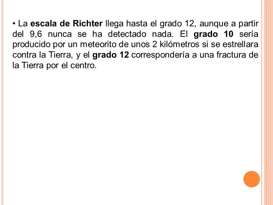 La escala de Richter llega hasta el grado 12, aunque a partir del 9,6 nunca se ha detectado nada. El grado 10 sería producido por un meteorito de unos