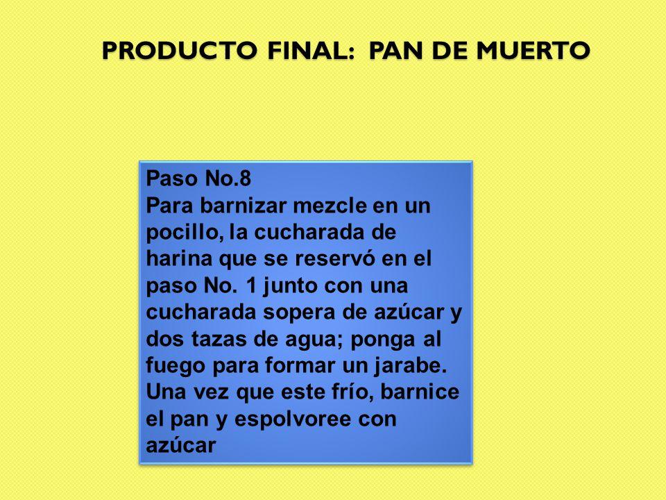 PRODUCTO FINAL: PAN DE MUERTO Paso No.8 Para barnizar mezcle en un pocillo, la cucharada de harina que se reservó en el paso No. 1 junto con una cucha