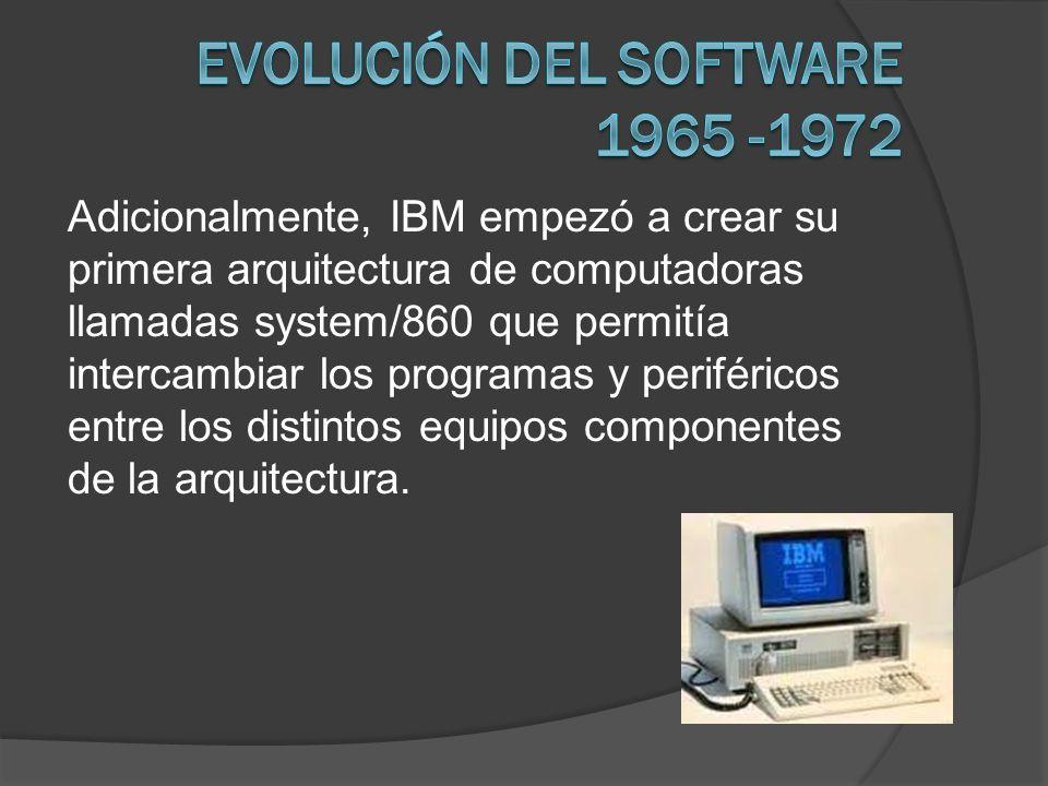 Adicionalmente, IBM empezó a crear su primera arquitectura de computadoras llamadas system/860 que permitía intercambiar los programas y periféricos e