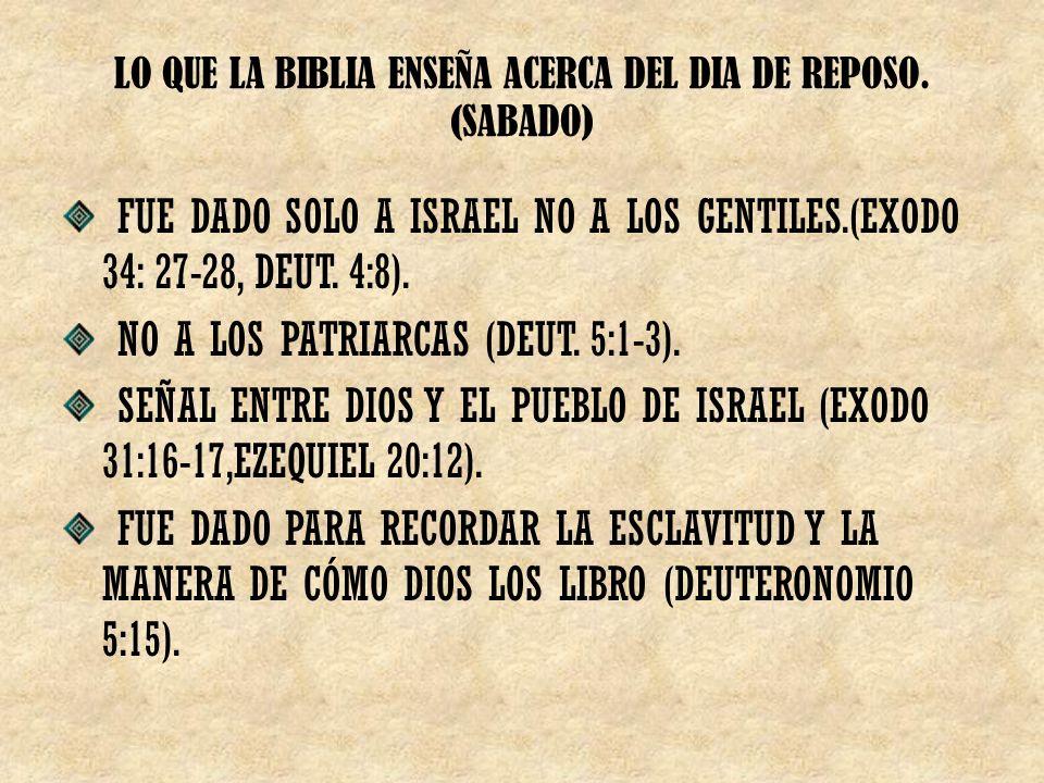 LO QUE LA BIBLIA ENSEÑA ACERCA DEL DIA DE REPOSO.