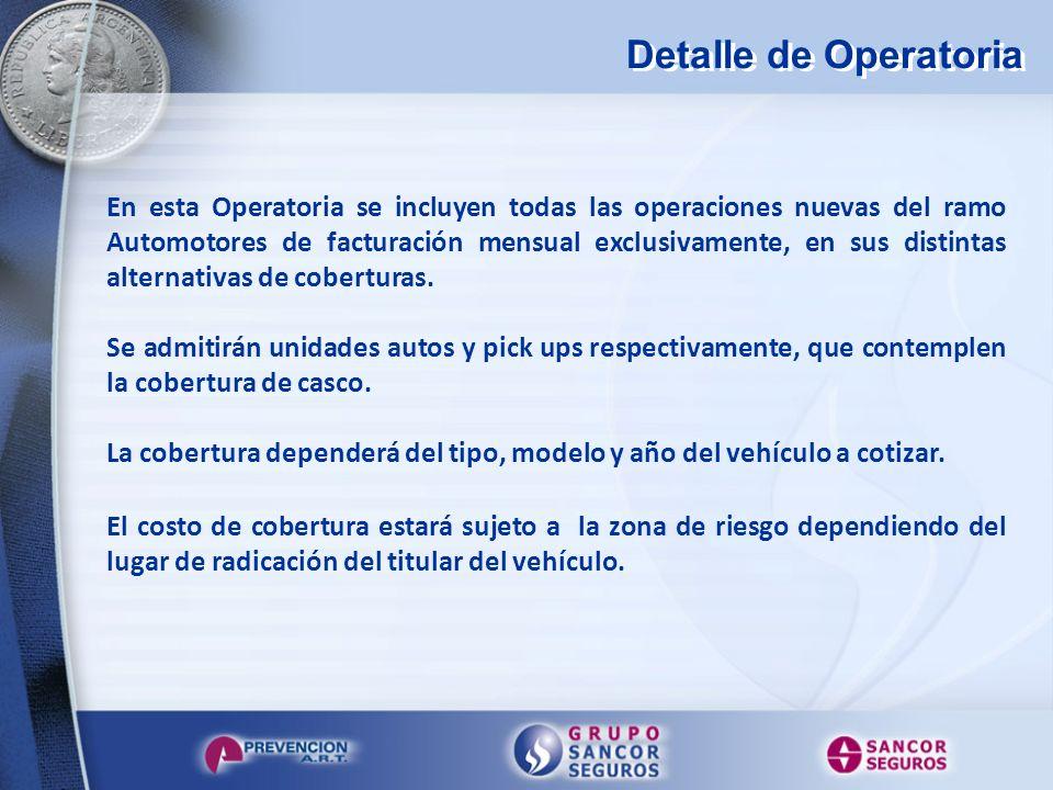 Detalle de Operatoria En esta Operatoria se incluyen todas las operaciones nuevas del ramo Automotores de facturación mensual exclusivamente, en sus d