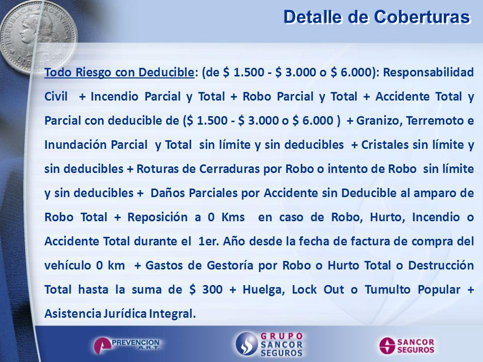 Detalle de Coberturas Todo Riesgo con Deducible: (de $ 1.500 - $ 3.000 o $ 6.000): Responsabilidad Civil + Incendio Parcial y Total + Robo Parcial y T