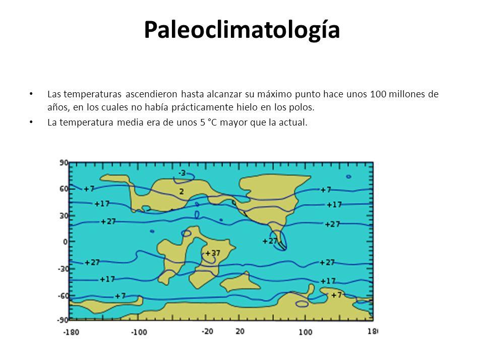 Paleoclimatología Las temperaturas ascendieron hasta alcanzar su máximo punto hace unos 100 millones de años, en los cuales no había prácticamente hie