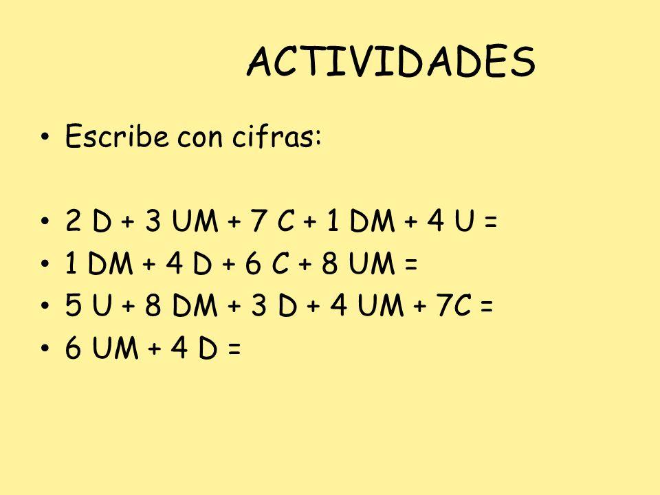 ACTIVIDADES Escribe con cifras: 2 D + 3 UM + 7 C + 1 DM + 4 U = 1 DM + 4 D + 6 C + 8 UM = 5 U + 8 DM + 3 D + 4 UM + 7C = 6 UM + 4 D =