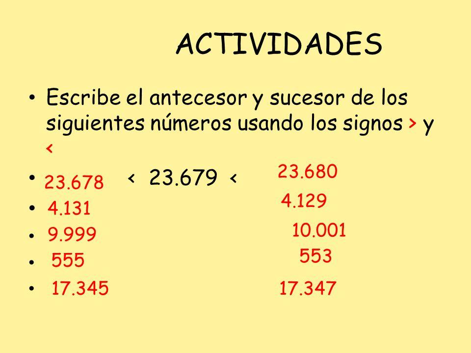 ACTIVIDADES Escribe el antecesor y sucesor de los siguientes números usando los signos > y < < 23.679 < 17.345 17.347 23.678 4.131 9.999 10.001 555 55