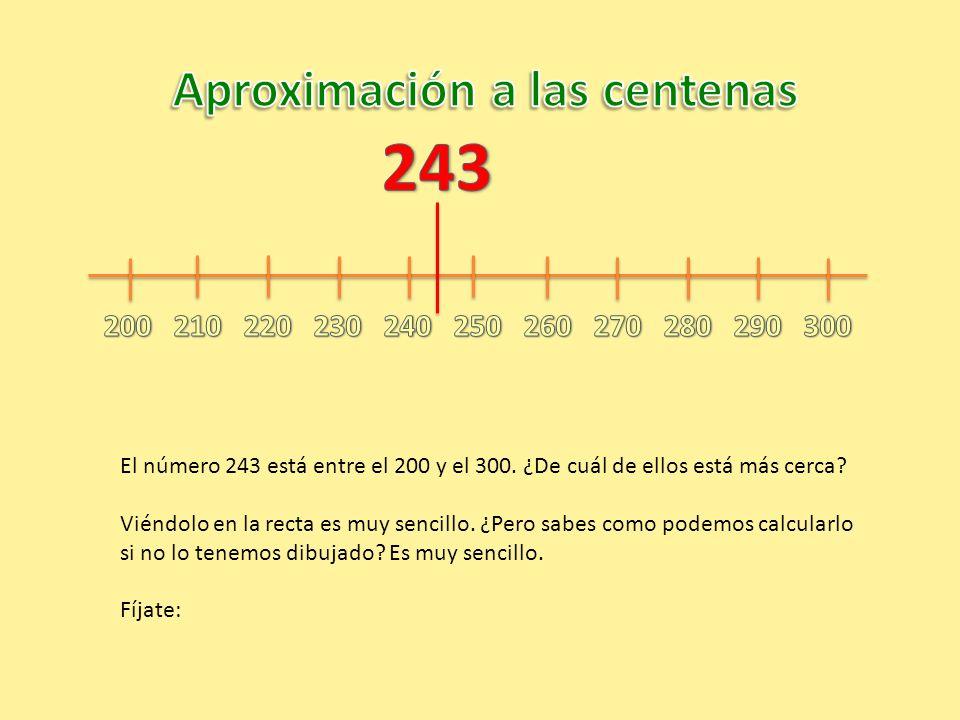 El número 243 está entre el 200 y el 300. ¿De cuál de ellos está más cerca? Viéndolo en la recta es muy sencillo. ¿Pero sabes como podemos calcularlo