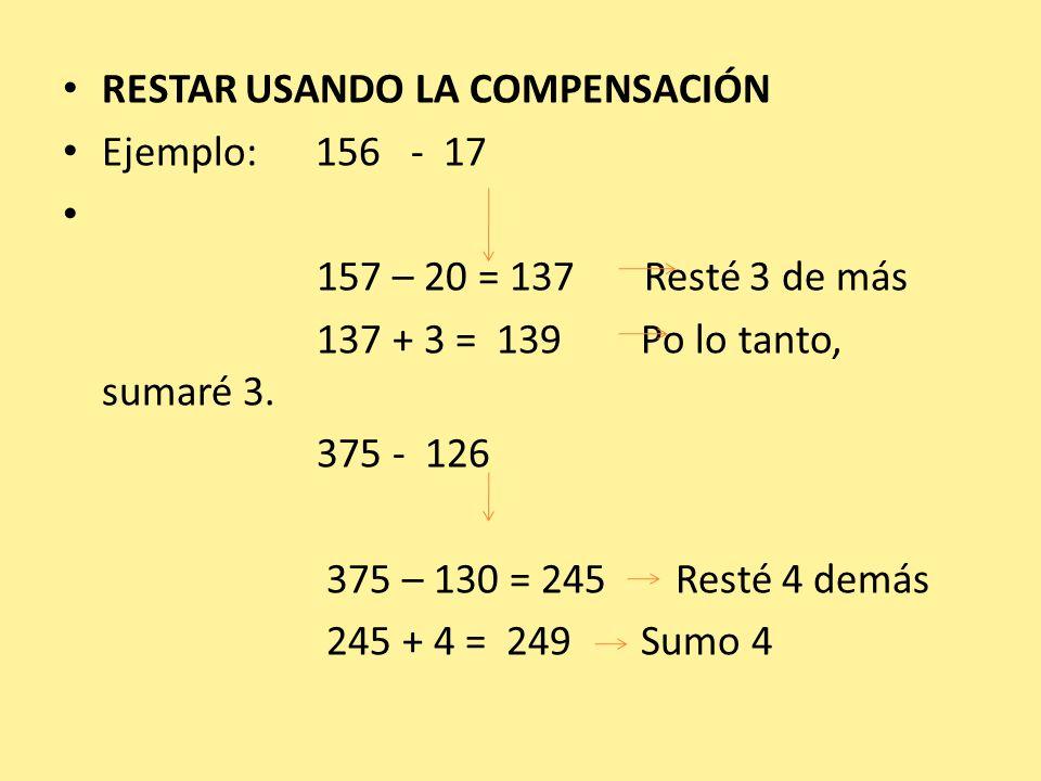 RESTAR USANDO LA COMPENSACIÓN Ejemplo: 156 - 17 157 – 20 = 137 Resté 3 de más 137 + 3 = 139 Po lo tanto, sumaré 3. 375 - 126 375 – 130 = 245 Resté 4 d