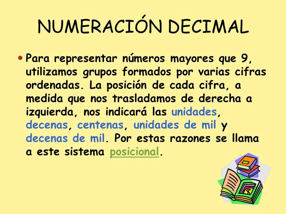 NUMERACIÓN DECIMAL Para representar números mayores que 9, utilizamos grupos formados por varias cifras ordenadas. La posición de cada cifra, a medida
