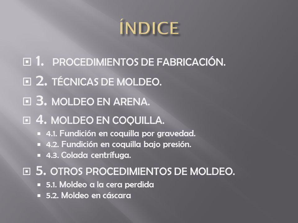1. PROCEDIMIENTOS DE FABRICACIÓN. 2. TÉCNICAS DE MOLDEO. 3. MOLDEO EN ARENA. 4. MOLDEO EN COQUILLA. 4.1. Fundición en coquilla por gravedad. 4.2. Fund