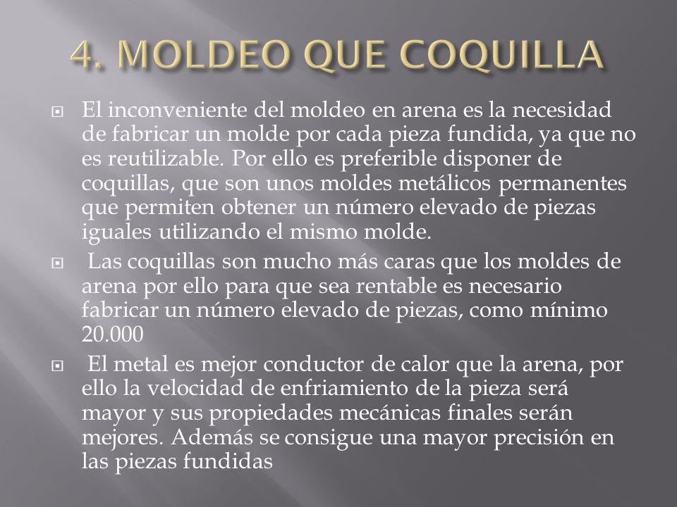 El inconveniente del moldeo en arena es la necesidad de fabricar un molde por cada pieza fundida, ya que no es reutilizable. Por ello es preferible di