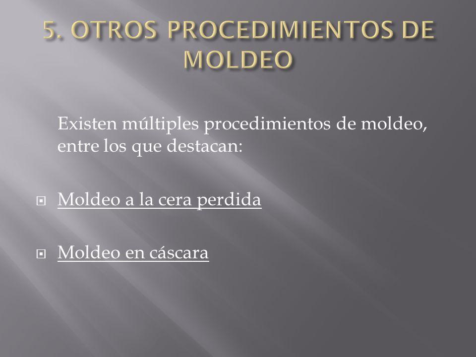 Existen múltiples procedimientos de moldeo, entre los que destacan: Moldeo a la cera perdida Moldeo en cáscara