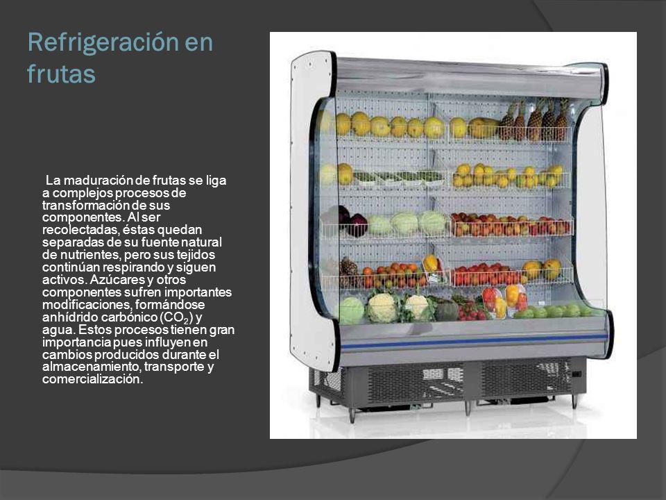 Refrigeración en frutas La maduración de frutas se liga a complejos procesos de transformación de sus componentes. Al ser recolectadas, éstas quedan s