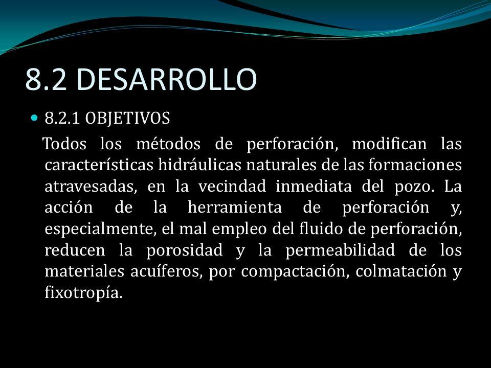 8.2 DESARROLLO 8.2.1 OBJETIVOS Todos los métodos de perforación, modifican las características hidráulicas naturales de las formaciones atravesadas, e