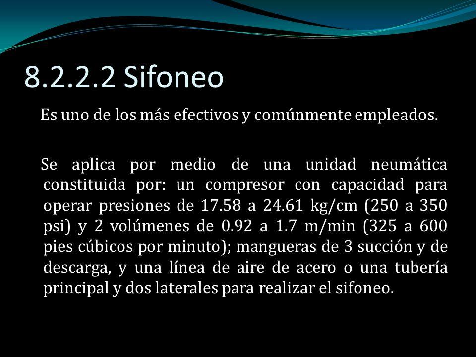 8.2.2.2 Sifoneo Es uno de los más efectivos y comúnmente empleados. Se aplica por medio de una unidad neumática constituida por: un compresor con capa