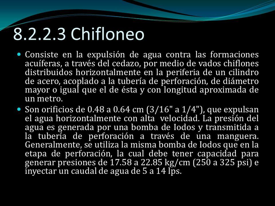 8.2.2.3 Chifloneo Consiste en la expulsión de agua contra las formaciones acuíferas, a través del cedazo, por medio de vados chiflones distribuidos ho