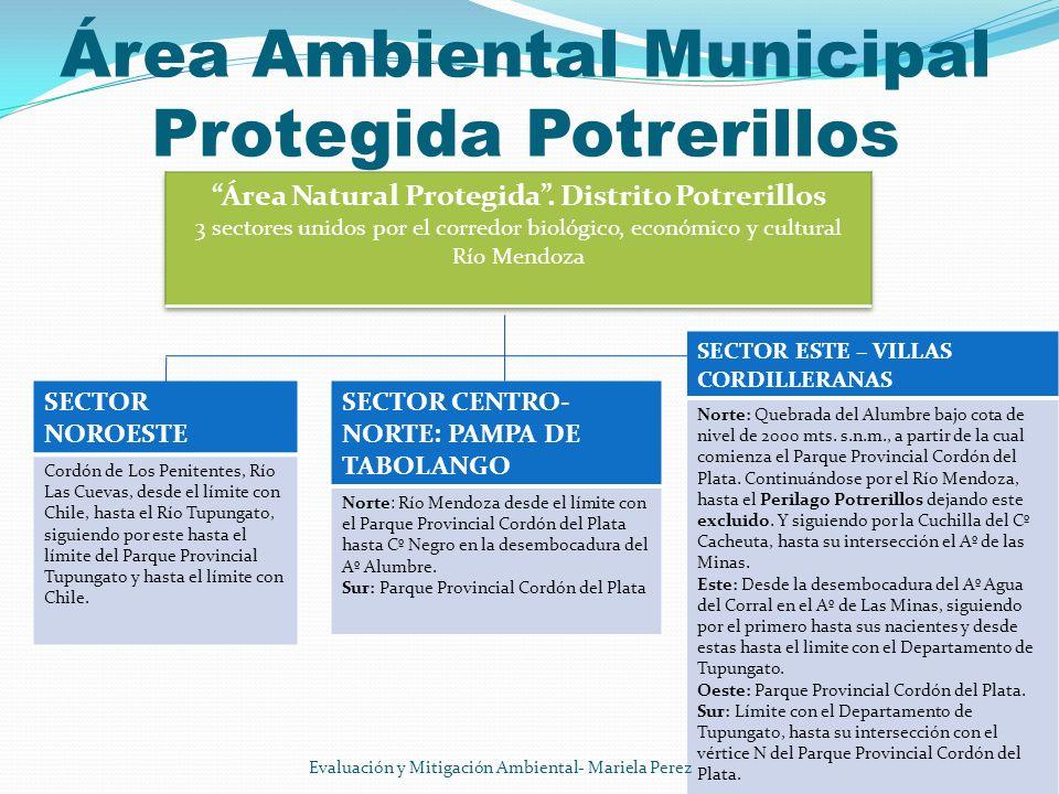 Área Ambiental Municipal Protegida Potrerillos SECTOR ESTE – VILLAS CORDILLERANAS Norte: Quebrada del Alumbre bajo cota de nivel de 2000 mts. s.n.m.,
