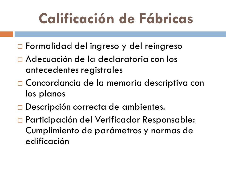 Calificación de Fábricas Formalidad del ingreso y del reingreso Adecuación de la declaratoria con los antecedentes registrales Concordancia de la memo