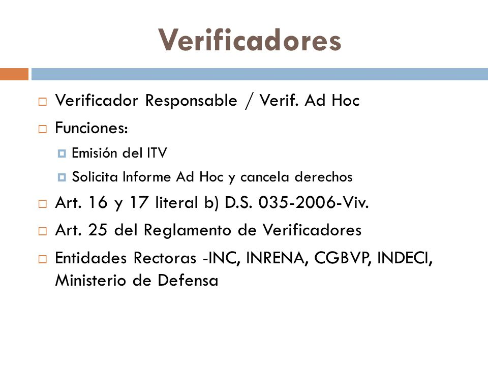 Verificadores Verificador Responsable / Verif.