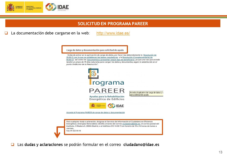 13 SOLICITUD EN PROGRAMA PAREER La documentación debe cargarse en la web : http://www.idae.es/http://www.idae.es/ Las dudas y aclaraciones se podrán f