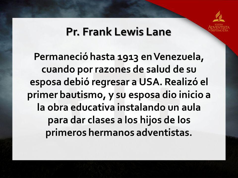 Permaneció hasta 1913 en Venezuela, cuando por razones de salud de su esposa debió regresar a USA.
