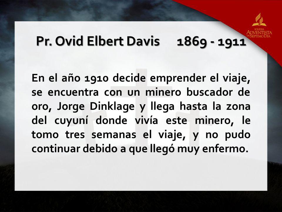 En el año 1910 decide emprender el viaje, se encuentra con un minero buscador de oro, Jorge Dinklage y llega hasta la zona del cuyuní donde vivía este
