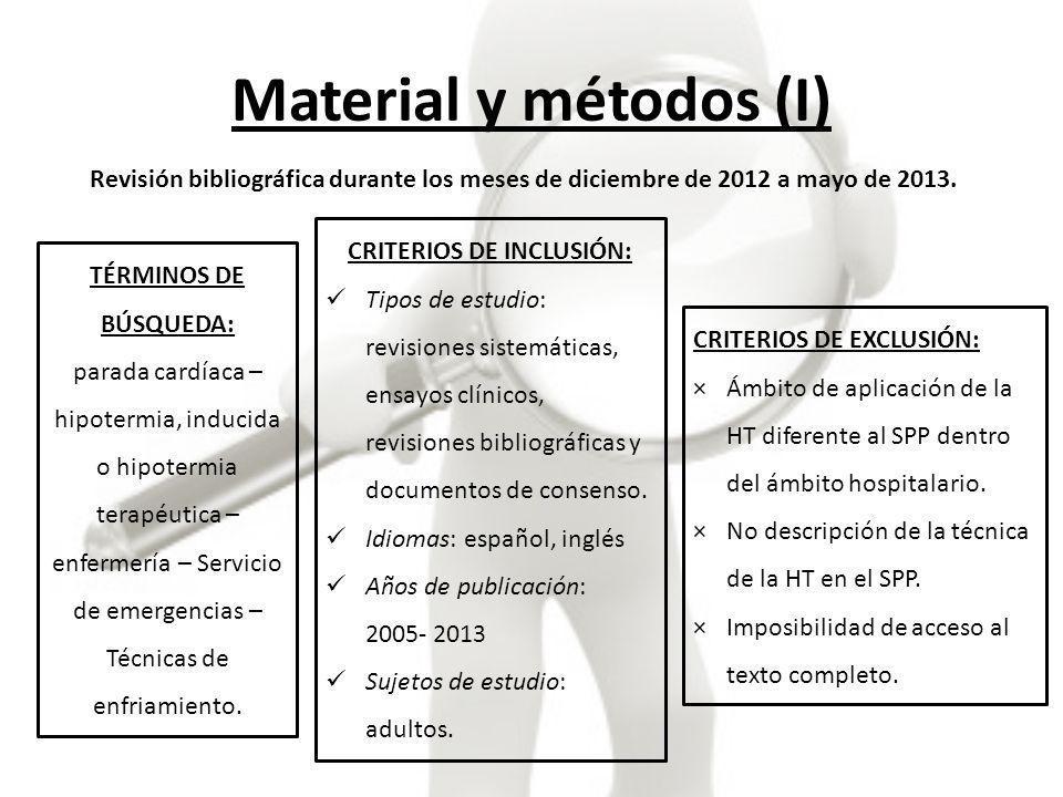 Material y métodos (II) Artículos encontrados: 70 Artículos aceptados: 8 Artículos rechazados: 58 CSIC: 2 MEDLINE: 1 CINAHL: 1 CUIDEN PLUS: 1 (repetido) DIALNET: 1 SCOPUS: 2 (repetidos) B.