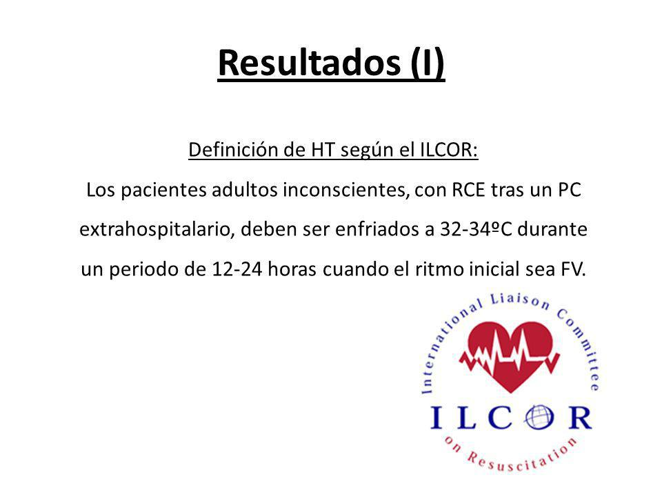 Resultados (I) Definición de HT según el ILCOR: Los pacientes adultos inconscientes, con RCE tras un PC extrahospitalario, deben ser enfriados a 32-34