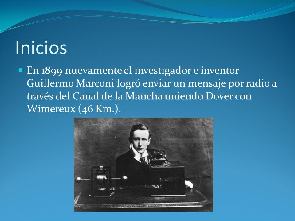 Inicios En 1899 nuevamente el investigador e inventor Guillermo Marconi logró enviar un mensaje por radio a través del Canal de la Mancha uniendo Dove