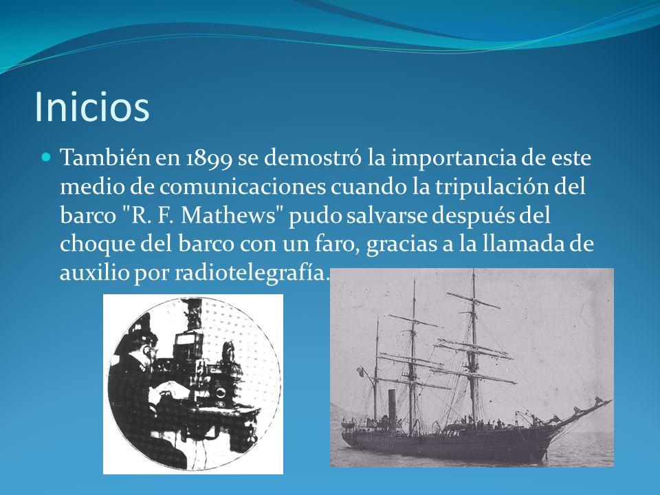 Inicios También en 1899 se demostró la importancia de este medio de comunicaciones cuando la tripulación del barco