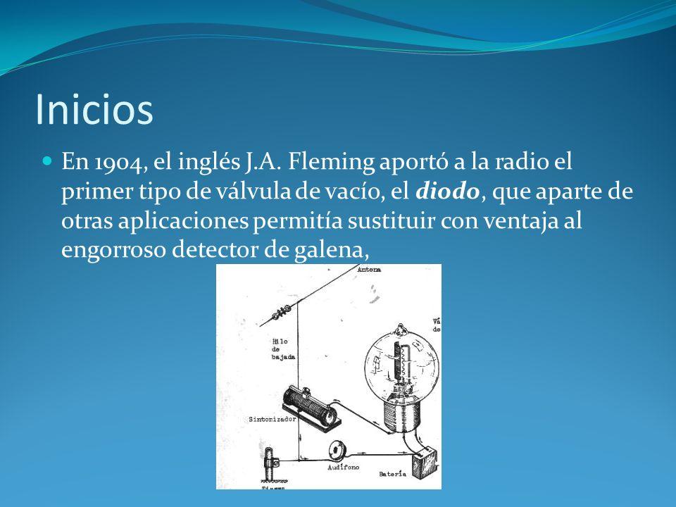 Inicios En 1904, el inglés J.A. Fleming aportó a la radio el primer tipo de válvula de vacío, el diodo, que aparte de otras aplicaciones permitía sust