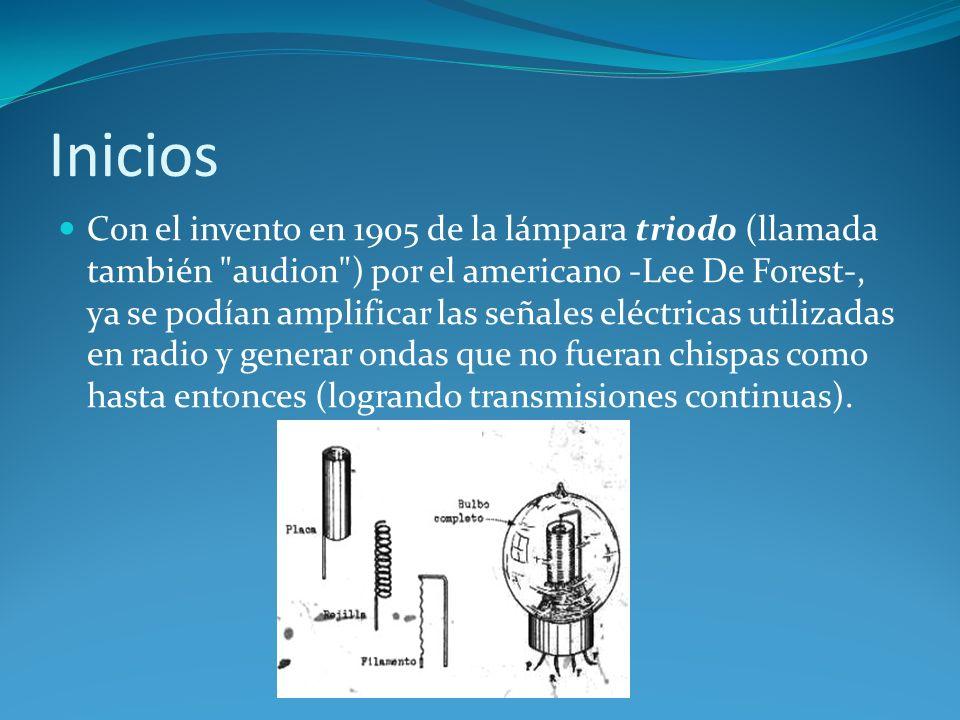 Inicios Con el invento en 1905 de la lámpara triodo (llamada también