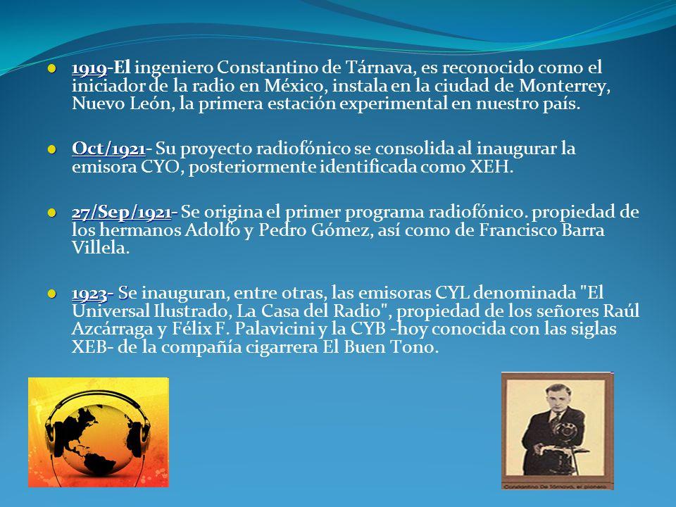 1919 1919-El ingeniero Constantino de Tárnava, es reconocido como el iniciador de la radio en México, instala en la ciudad de Monterrey, Nuevo León, l