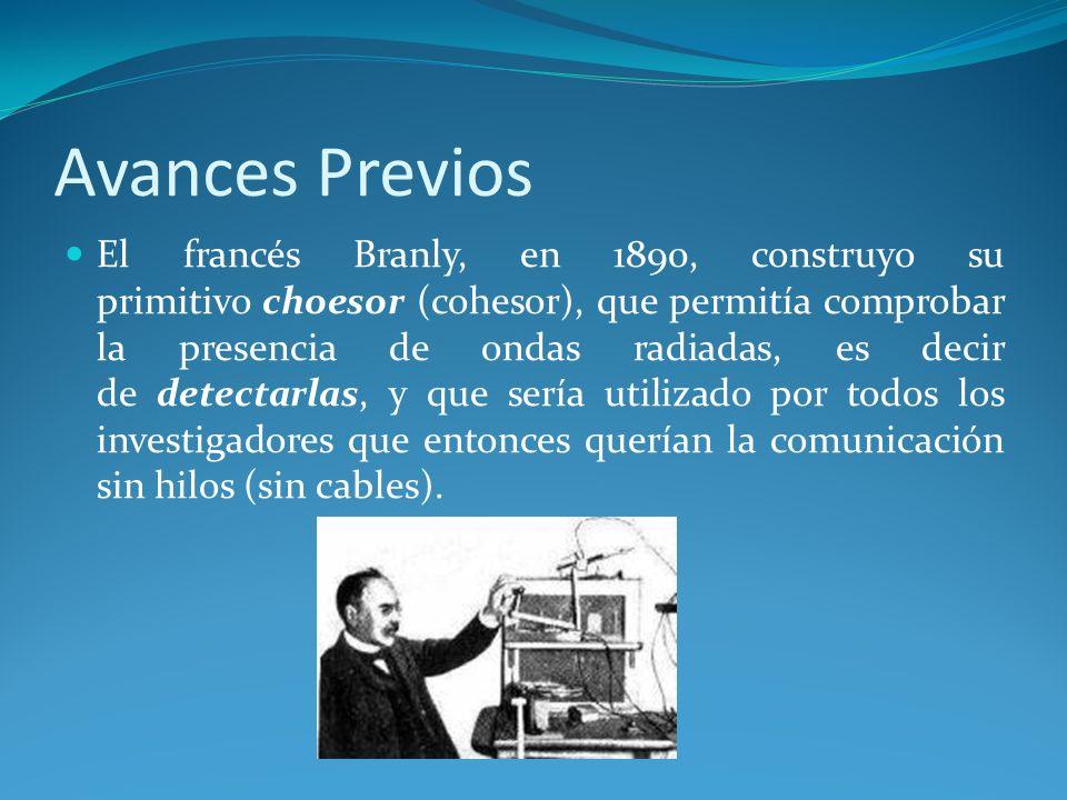 Avances Previos El francés Branly, en 1890, construyo su primitivo choesor (cohesor), que permitía comprobar la presencia de ondas radiadas, es decir