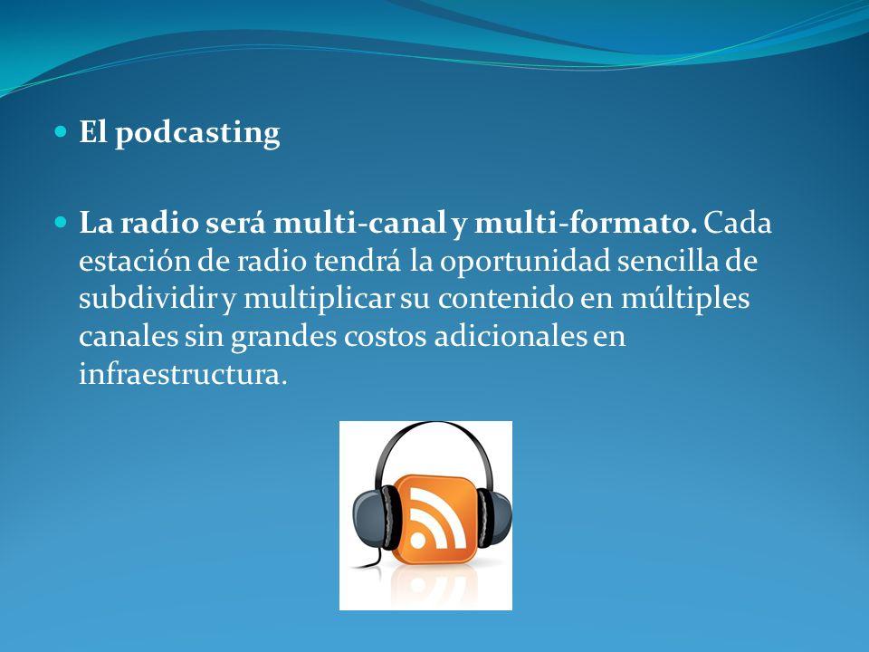 El podcasting La radio será multi-canal y multi-formato. Cada estación de radio tendrá la oportunidad sencilla de subdividir y multiplicar su contenid