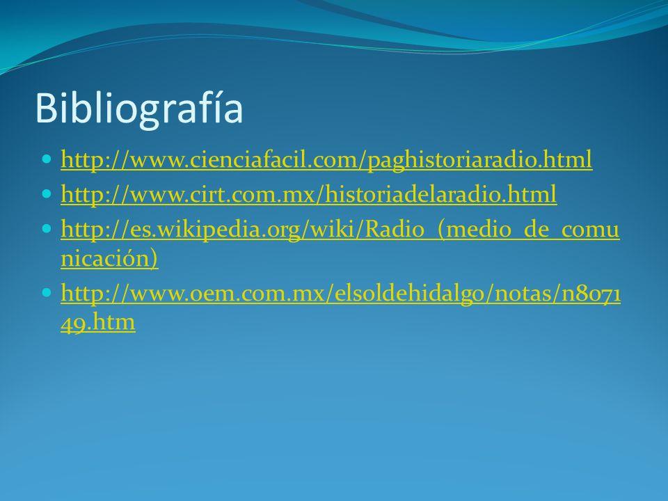 Bibliografía http://www.cienciafacil.com/paghistoriaradio.html http://www.cirt.com.mx/historiadelaradio.html http://es.wikipedia.org/wiki/Radio_(medio