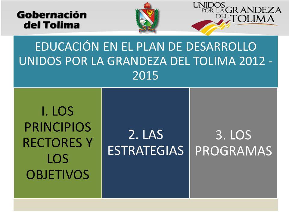 EDUCACIÓN EN EL PLAN DE DESARROLLO UNIDOS POR LA GRANDEZA DEL TOLIMA 2012 - 2015 I. LOS PRINCIPIOS RECTORES Y LOS OBJETIVOS 2. LAS ESTRATEGIAS 3. LOS