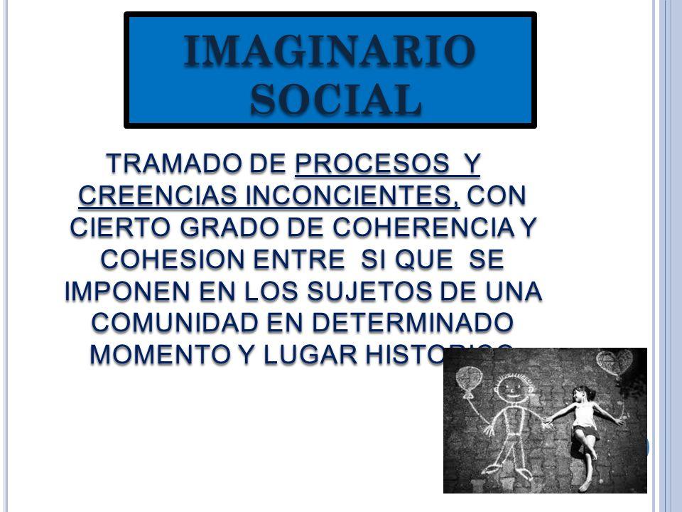 IMAGINARIO SOCIAL TRAMADO DE PROCESOS Y CREENCIAS INCONCIENTES, CON CIERTO GRADO DE COHERENCIA Y COHESION ENTRE SI QUE SE IMPONEN EN LOS SUJETOS DE UNA COMUNIDAD EN DETERMINADO MOMENTO Y LUGAR HISTORICO