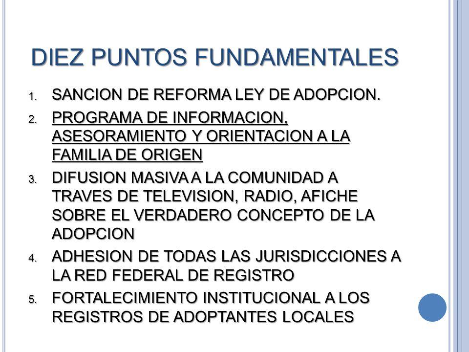 DIEZ PUNTOS FUNDAMENTALES SANCION DE REFORMA LEY DE ADOPCION. SANCION DE REFORMA LEY DE ADOPCION. PROGRAMA DE INFORMACION, ASESORAMIENTO Y ORIENTACION