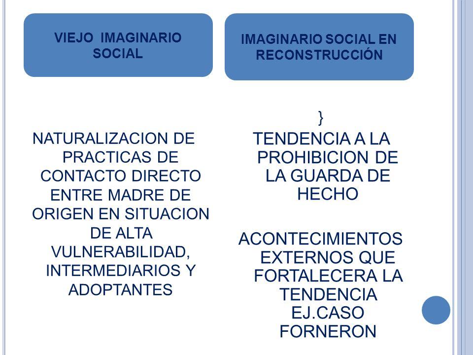 NATURALIZACION DE PRACTICAS DE CONTACTO DIRECTO ENTRE MADRE DE ORIGEN EN SITUACION DE ALTA VULNERABILIDAD, INTERMEDIARIOS Y ADOPTANTES } TENDENCIA A LA PROHIBICION DE LA GUARDA DE HECHO ACONTECIMIENTOS EXTERNOS QUE FORTALECERA LA TENDENCIA EJ.CASO FORNERON VIEJO IMAGINARIO SOCIAL IMAGINARIO SOCIAL EN RECONSTRUCCIÓN