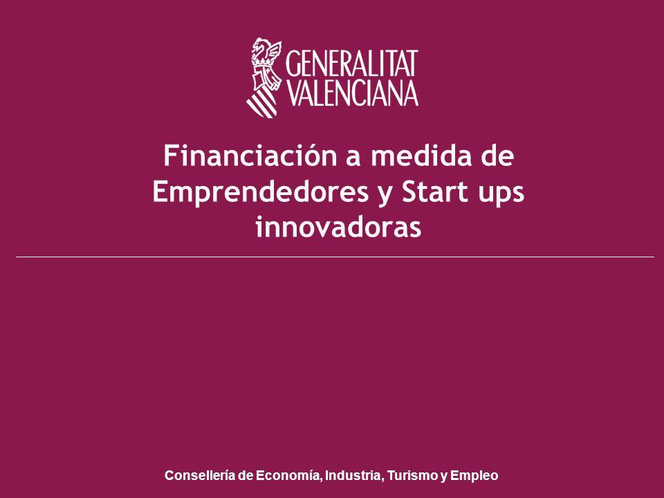Conselleria de Economía, Industria, Turismo y Empleo Financiación a medida de Emprendedores y Start ups innovadoras Consellería de Economía, Industria