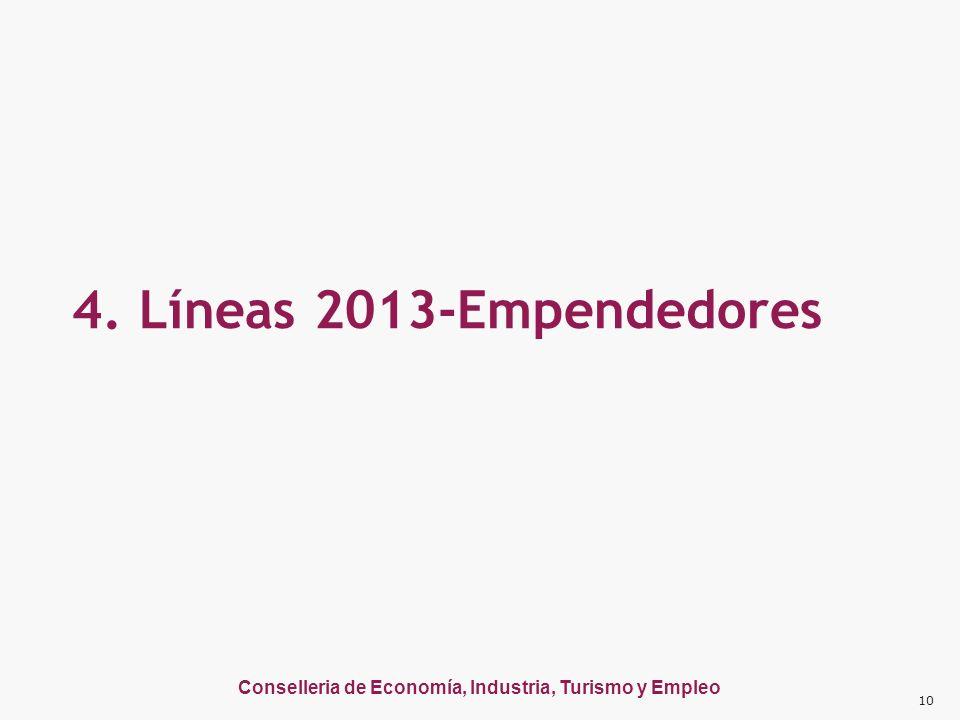 Conselleria de Economía, Industria, Turismo y Empleo 4. Líneas 2013-Empendedores 10