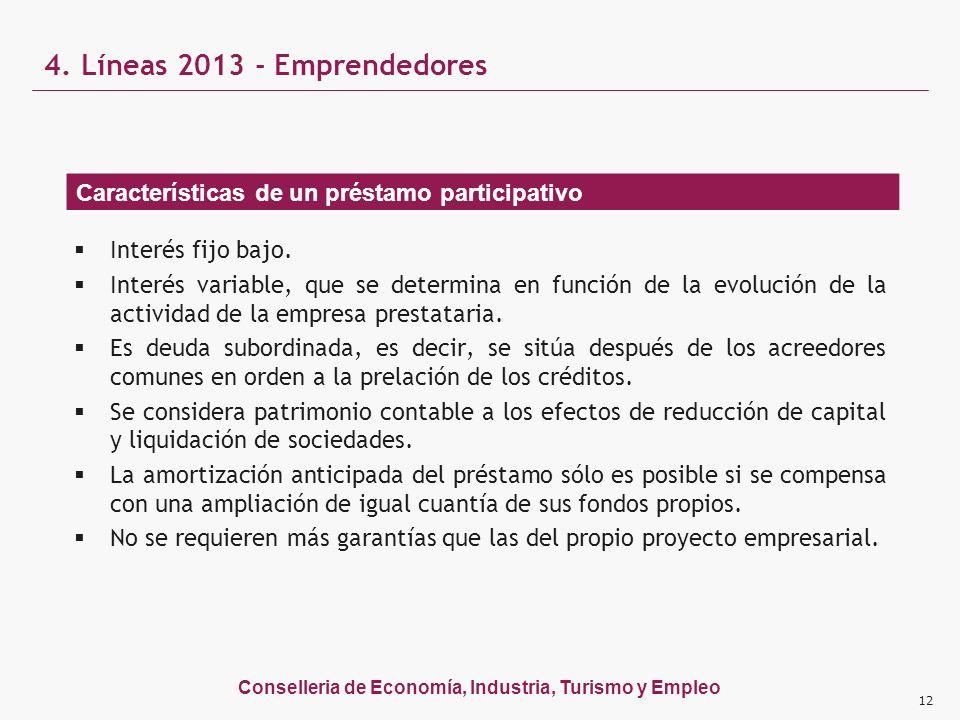 Conselleria de Economía, Industria, Turismo y Empleo 12 Interés fijo bajo. Interés variable, que se determina en función de la evolución de la activid