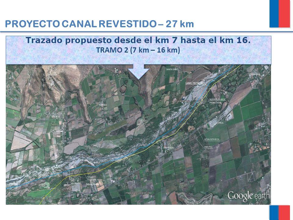 PROYECTO CANAL REVESTIDO – 27 km Trazado propuesto desde el km 7 hasta el km 16. TRAMO 2 (7 km – 16 km) Trazado propuesto desde el km 7 hasta el km 16